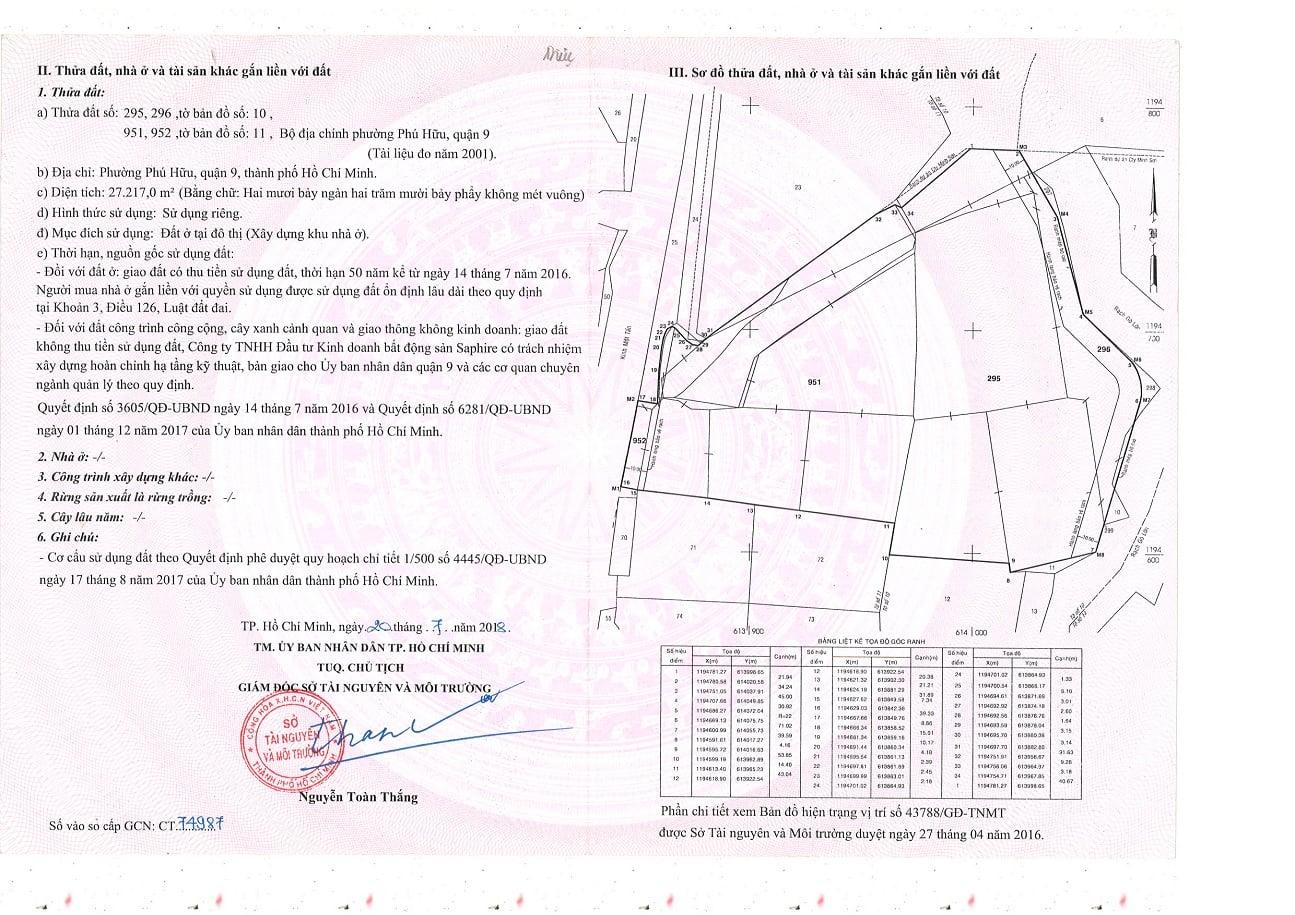 Pháp lý dự án Safira Khang Điền - GCN quyền sử dụng đất