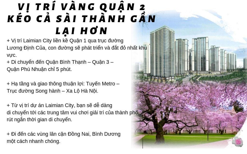 Tiềm Năng Từ Dự án Laimian City quận 2