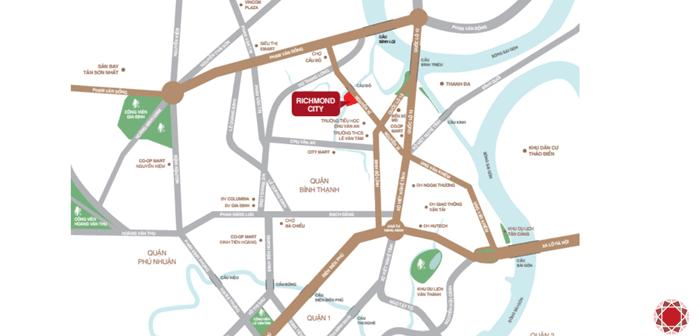 Vị trí căn hộ Richmond City Nguyễn Xí