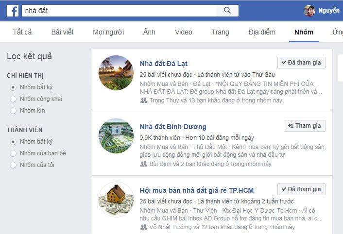 Tìm kiếm bất động sản trên facebook