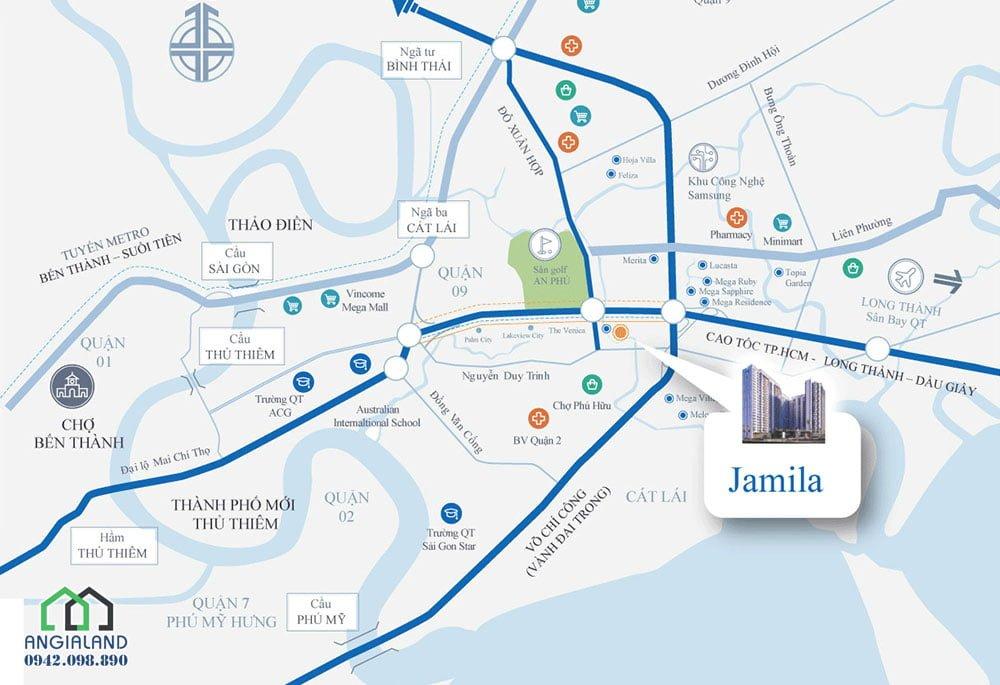 Vị trí Căn hộ Jamila Khang Điền