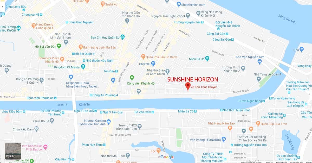 Vị trí căn hộ Sunshine Horizon quận 4
