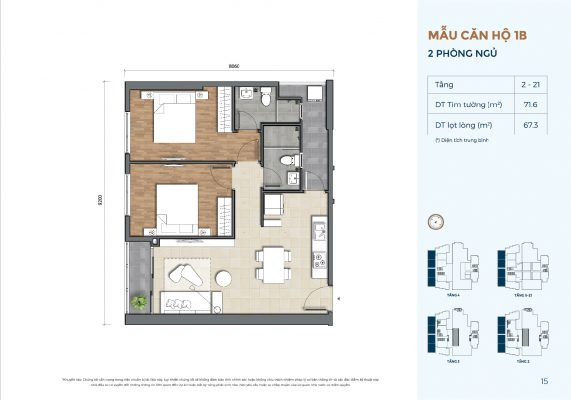 Mẫu căn hộ 1B Precia
