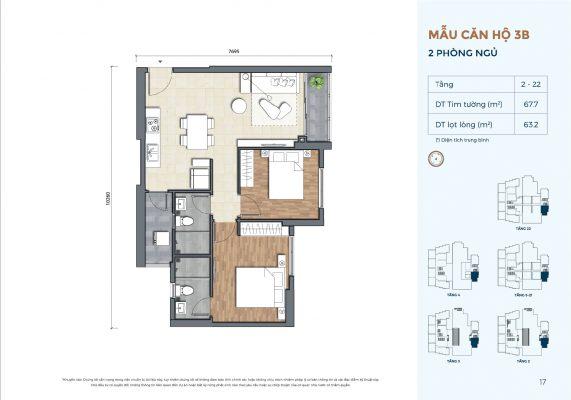 Mẫu căn hộ 3B Precia