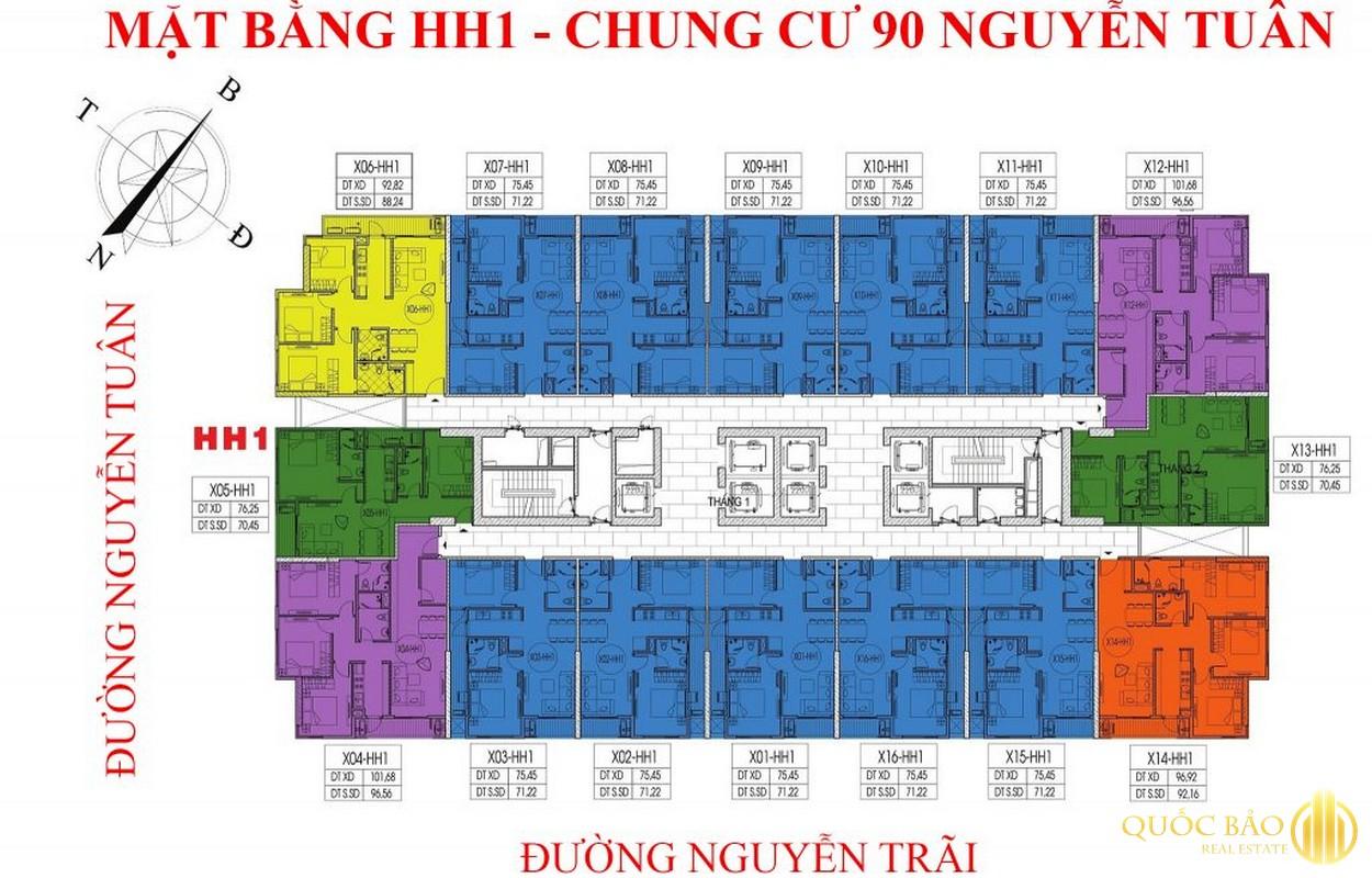 Mặt bằng H1 chung cư 90 Nguyễn Tuân