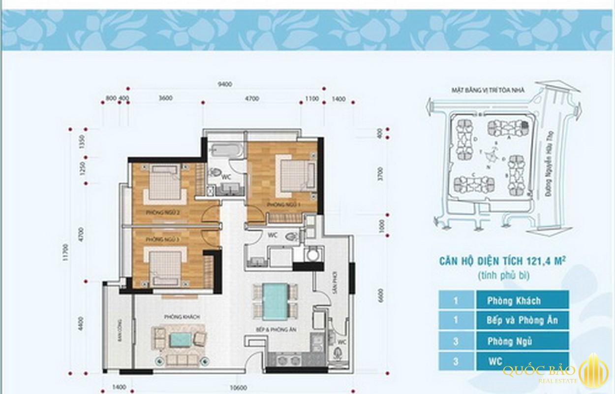 Mặt bằng căn hộ chung cư Hoàng Anh Gia Lai 3