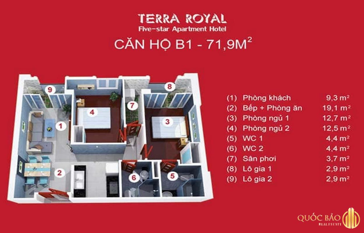 Mặt bằng căn hộ Terra Royal