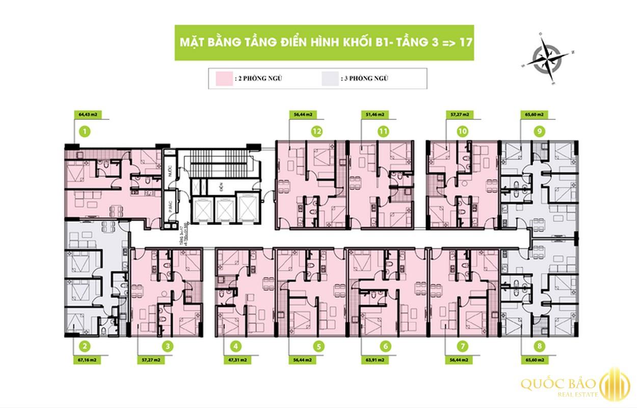 Mặt bằng tầng 3-17 Block 1 dự án Topaz Home 2