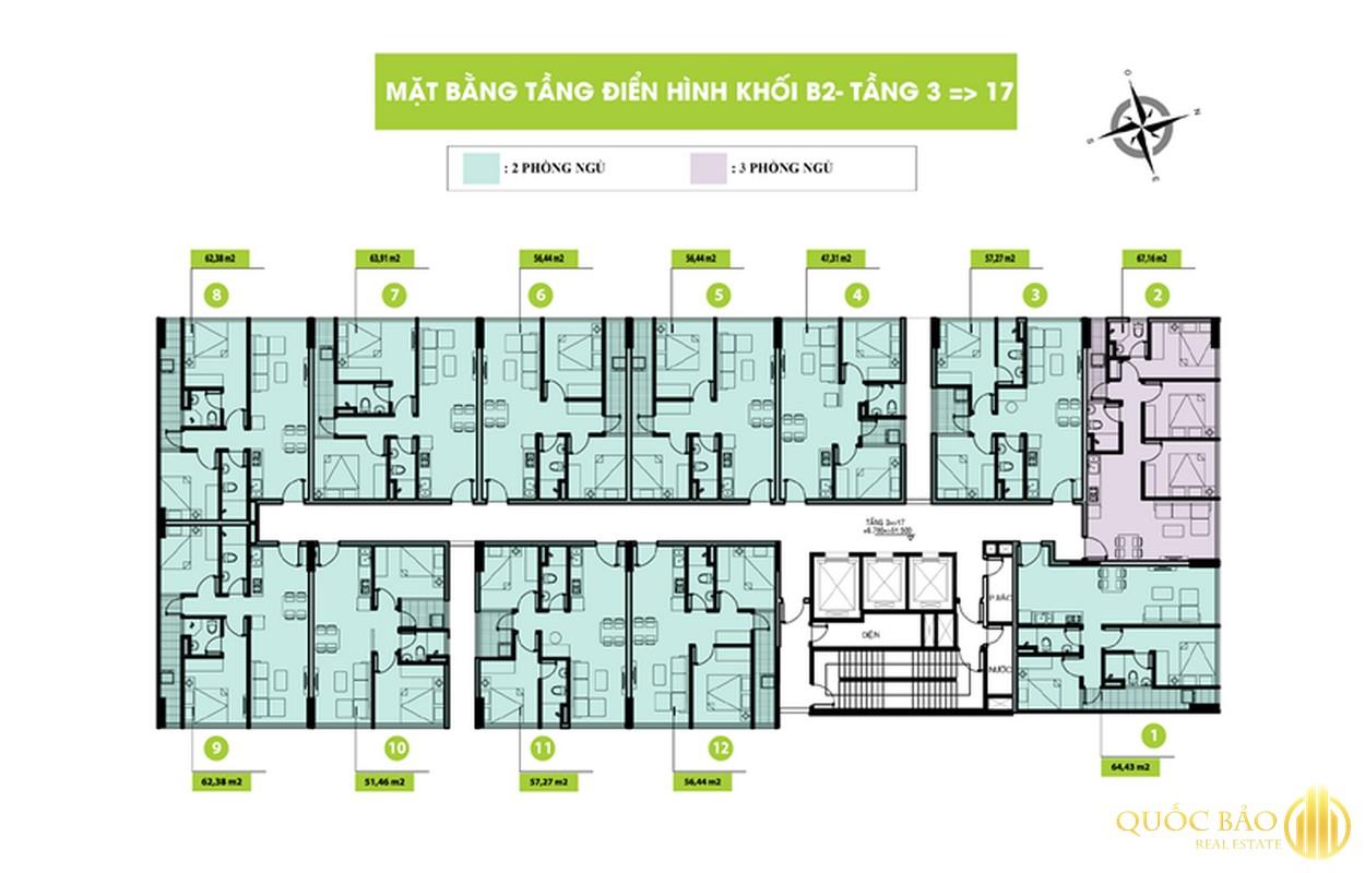 Mặt bằng tầng 3-17 Block 2 dự án Topaz Home 2