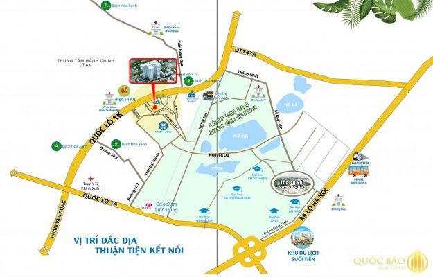 Vị trí trên bản đồ Dự án Bcons Green View