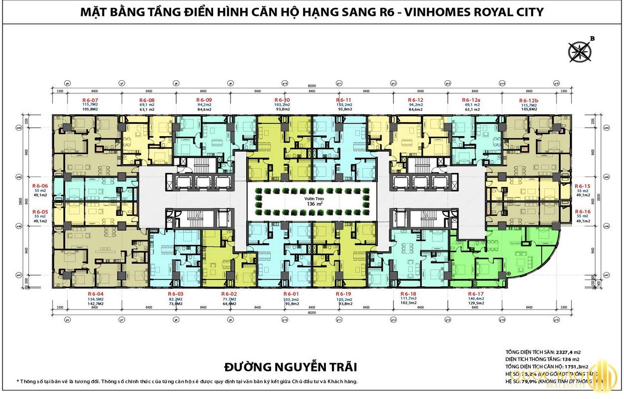 Mặt bằng căn hộ Royal City - Bảng giá bán chung cư Royal City