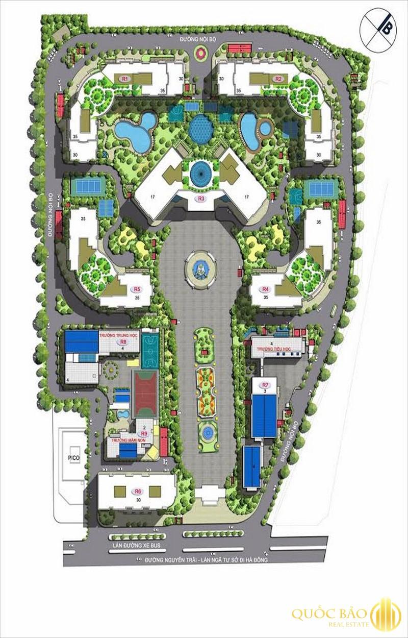 Mặt bằng tổng thể Royal City - Bảng giá bán chung cư Royal City