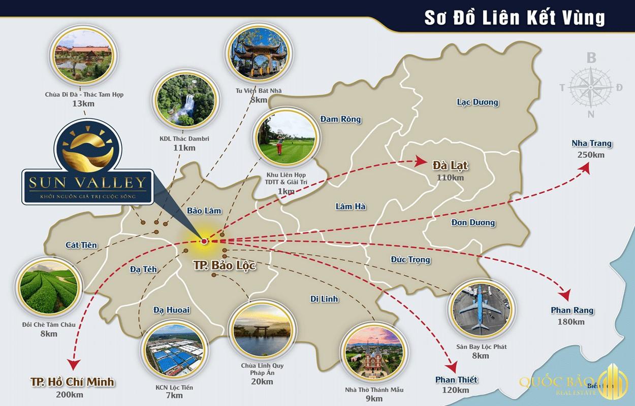 Bản đồ liên kết vùng Sun Valley Bảo Lộc - Bản đồ quy hoạch thành phố Bảo Lộc