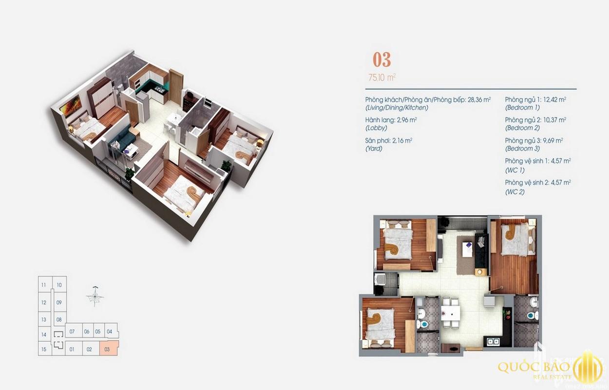 Thiết kế căn hộ Dự án Green Square Bình Dương