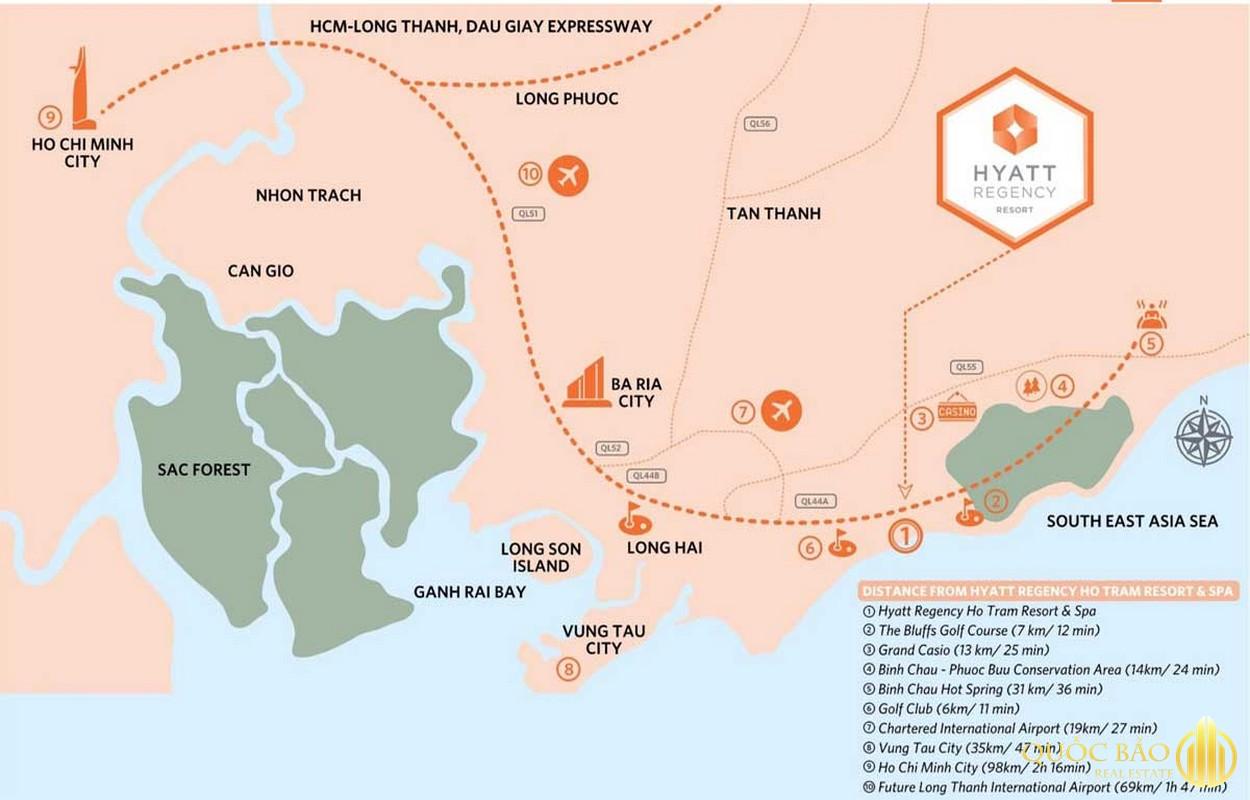 Vị trí Dự án Hyatt Regency Hồ Tràm