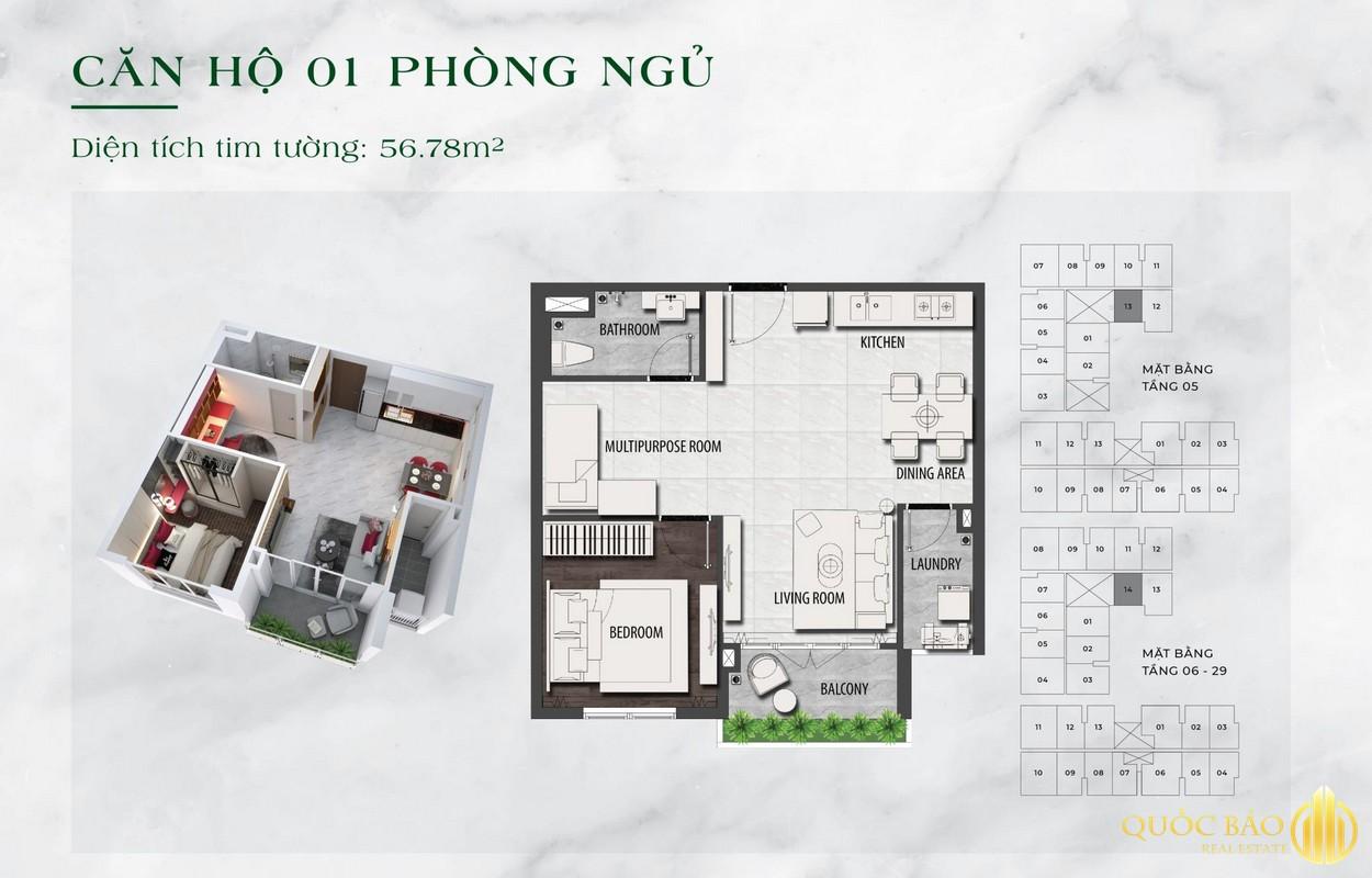 Thiết kế căn hộ 1PN Dự án LDG Sky Bình Dương