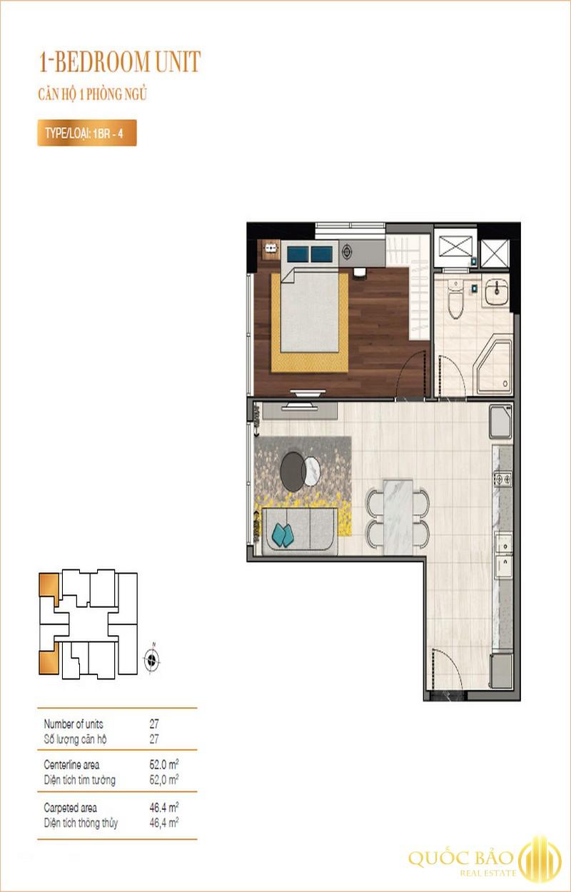 Mặt bằng căn 1 phòng ngủ