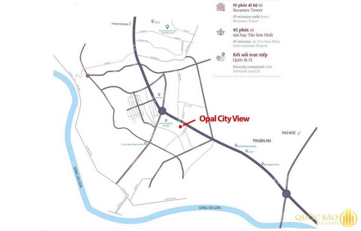 Vi trí Dự án Opal City View Bình Dương