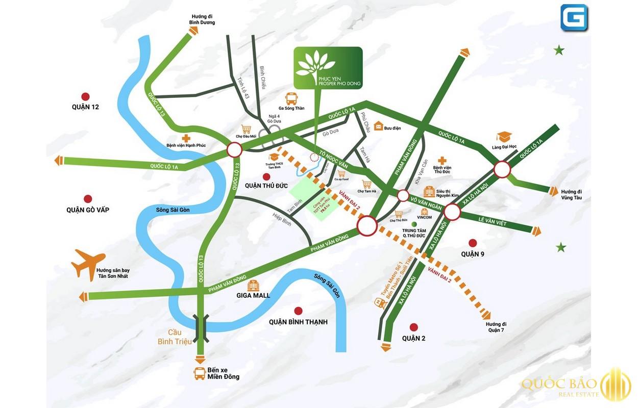 Vị trí dự án Phúc Yên Prosper phố Đông