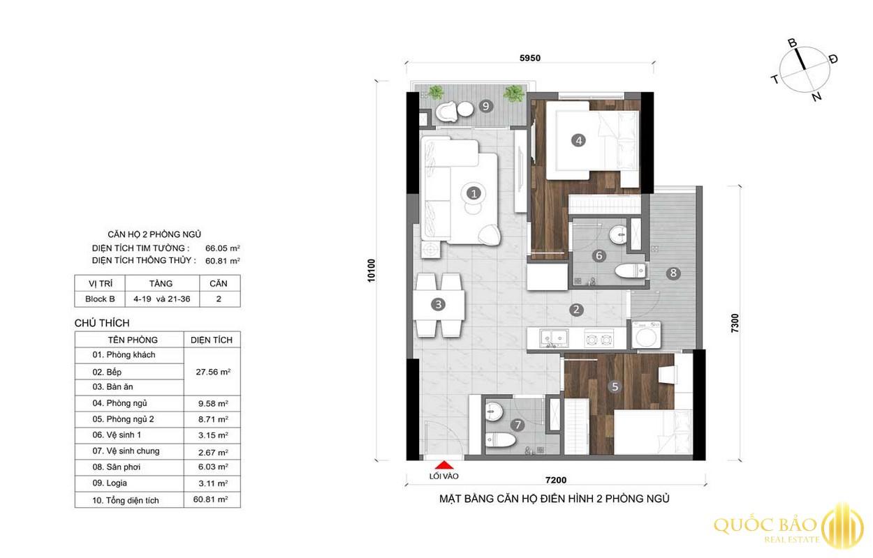 Mặt bằng căn hộ điển hình 2 phòng ngủ