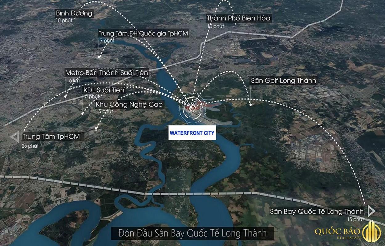Từ vị trí Spring Waterfront Nam Long Đồng Nai dễ dàng kết nối các tiện ích ngoại khu quan trọng
