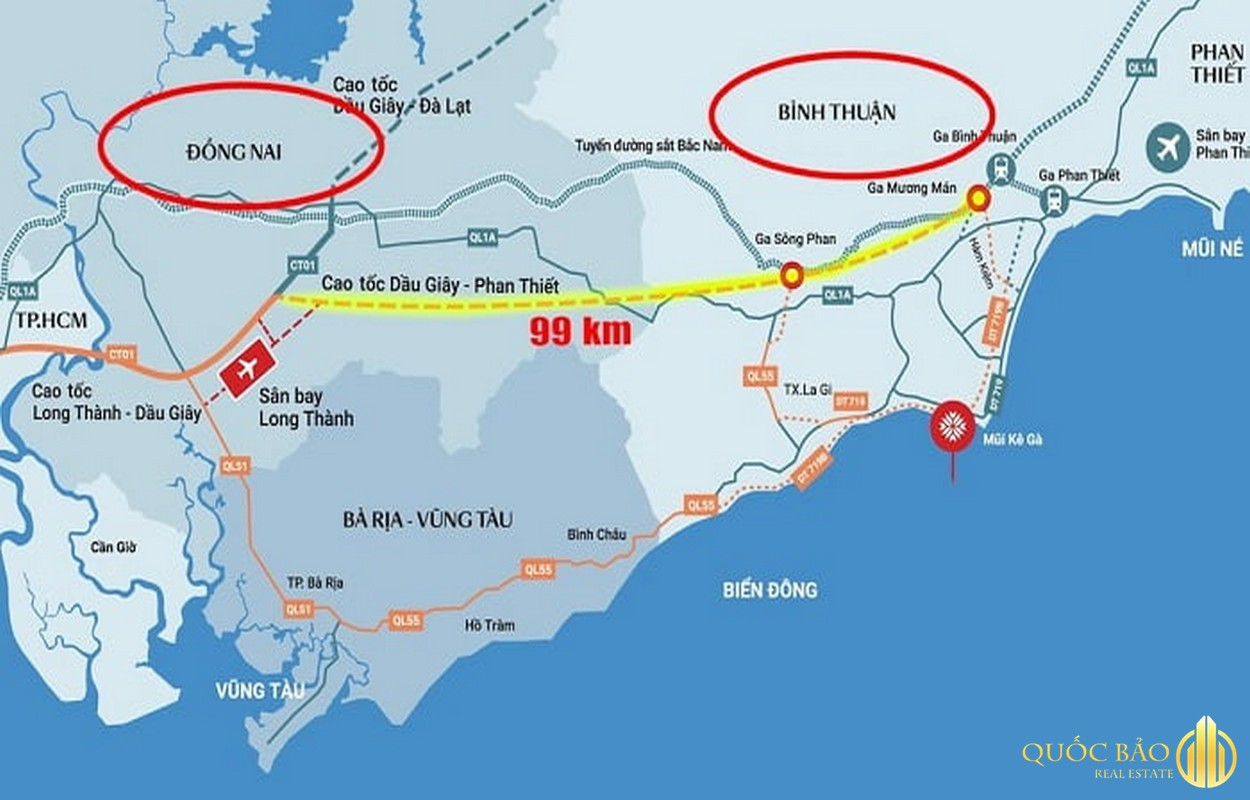 Bản đồ Cao tốc Dầu Giây Phan Thiết