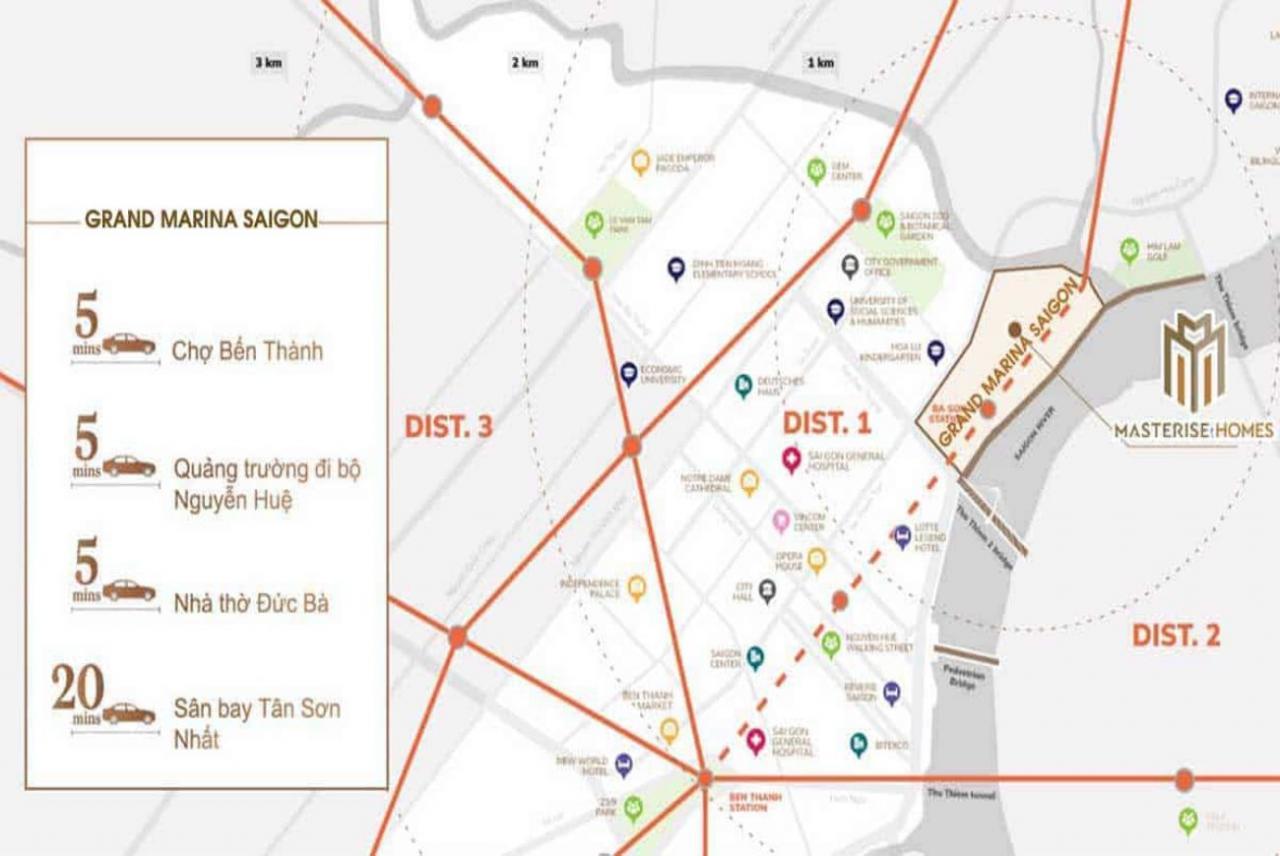 Vị trí chiến lược tại căn hộ Grand Marina Saigon