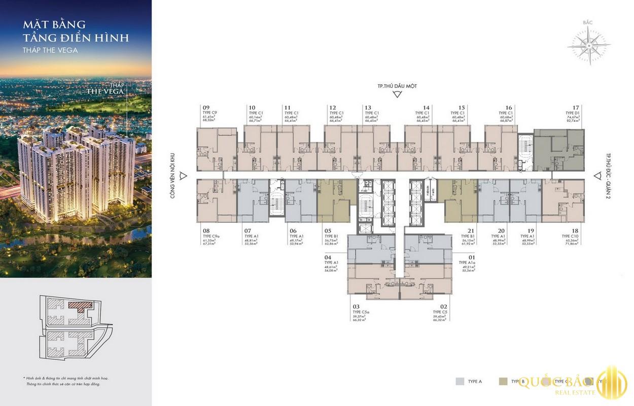 Mặt bằng tháp Vega dự án Astral City Bình Dương