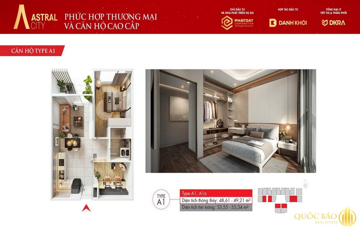 Thiết kế chi tiết căn hộ A1 Astral City Bình Dương