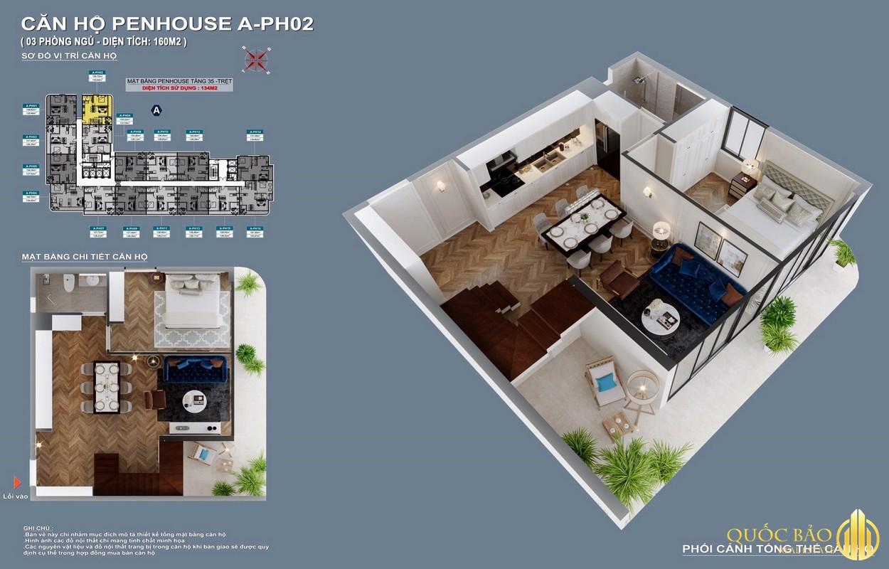 Mặt bằng căn hộ Penhouse điển hình