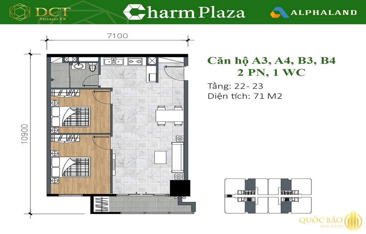 Mặt bằng căn hộ 2 Phòng ngủ, 1 WC