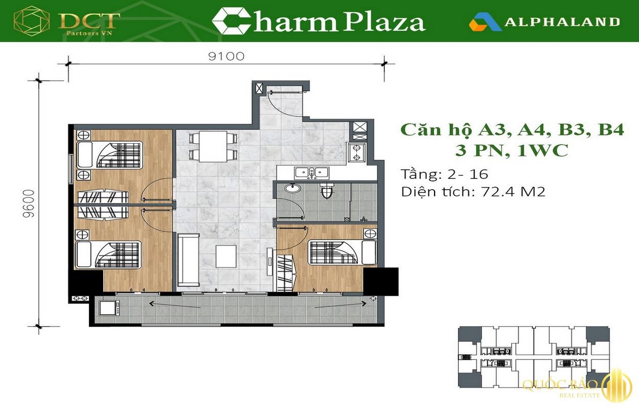 Mặt bằng căn hộ 3 Phòng ngủ, 1 WC