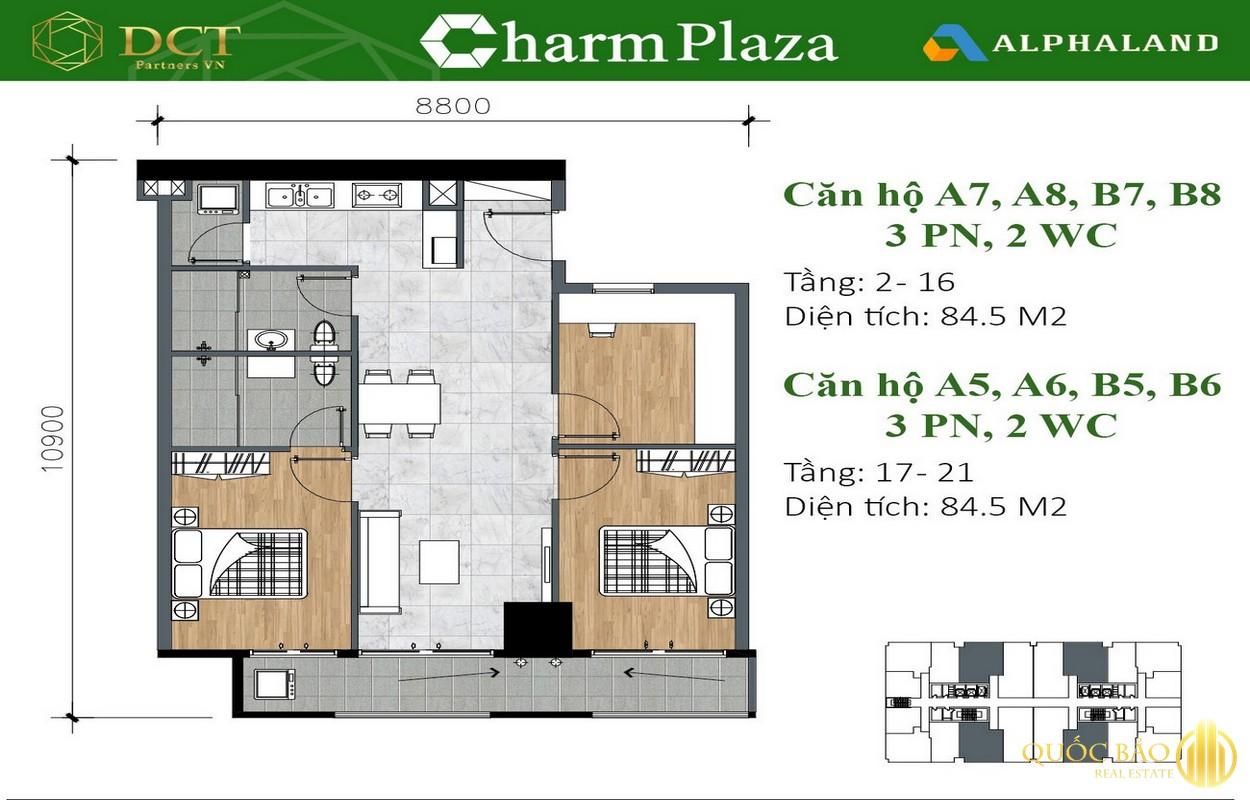 Mặt bằng căn hộ 3 Phòng ngủ, 2 WC