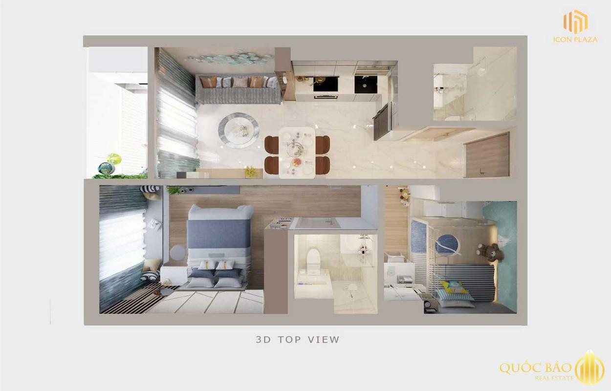 Phối cảnh tổng thể căn hộ 2 phòng ngủ điển hình