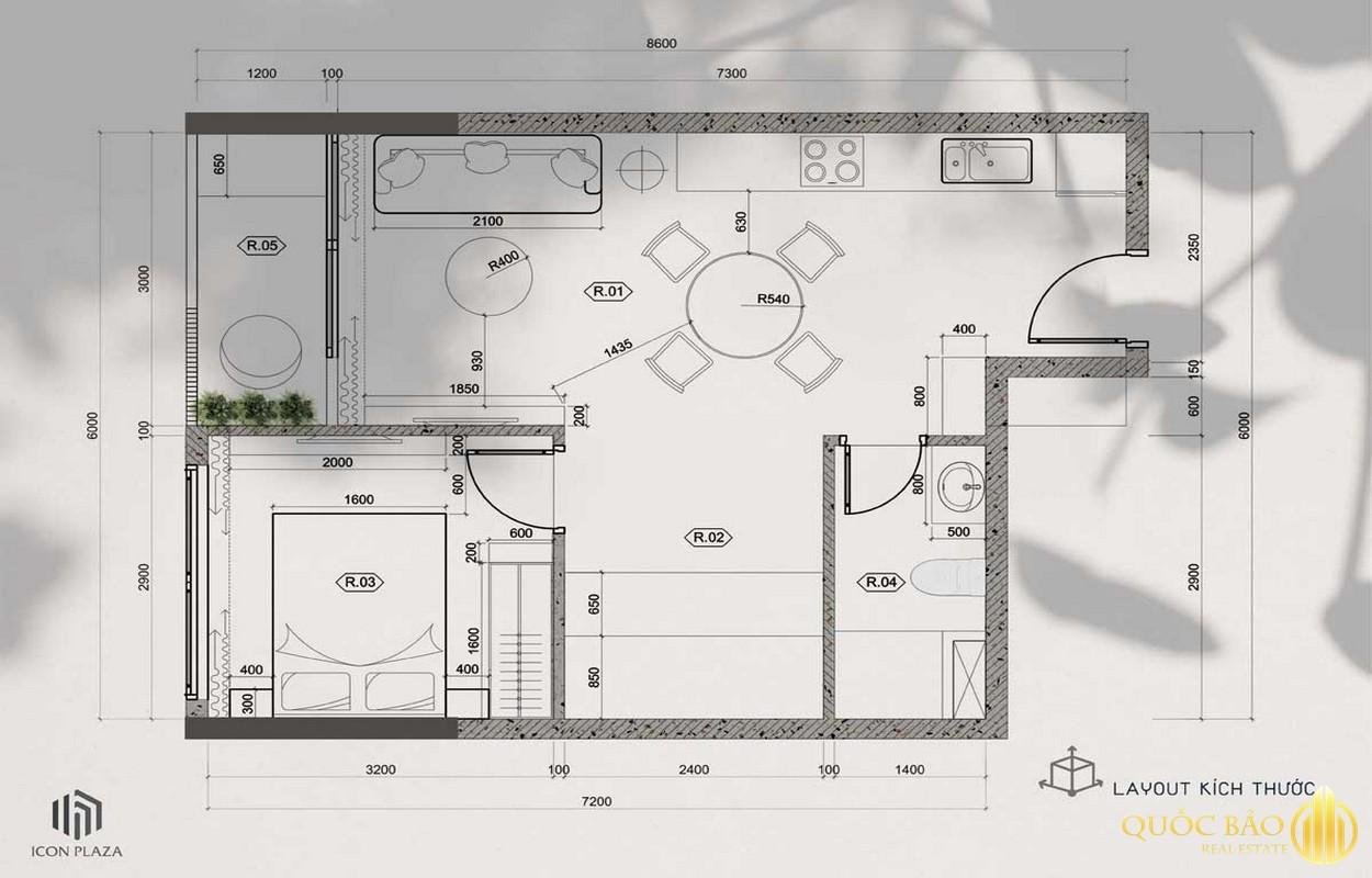 Mặt bằng căn hộ 1 phòng ngủ điển hình