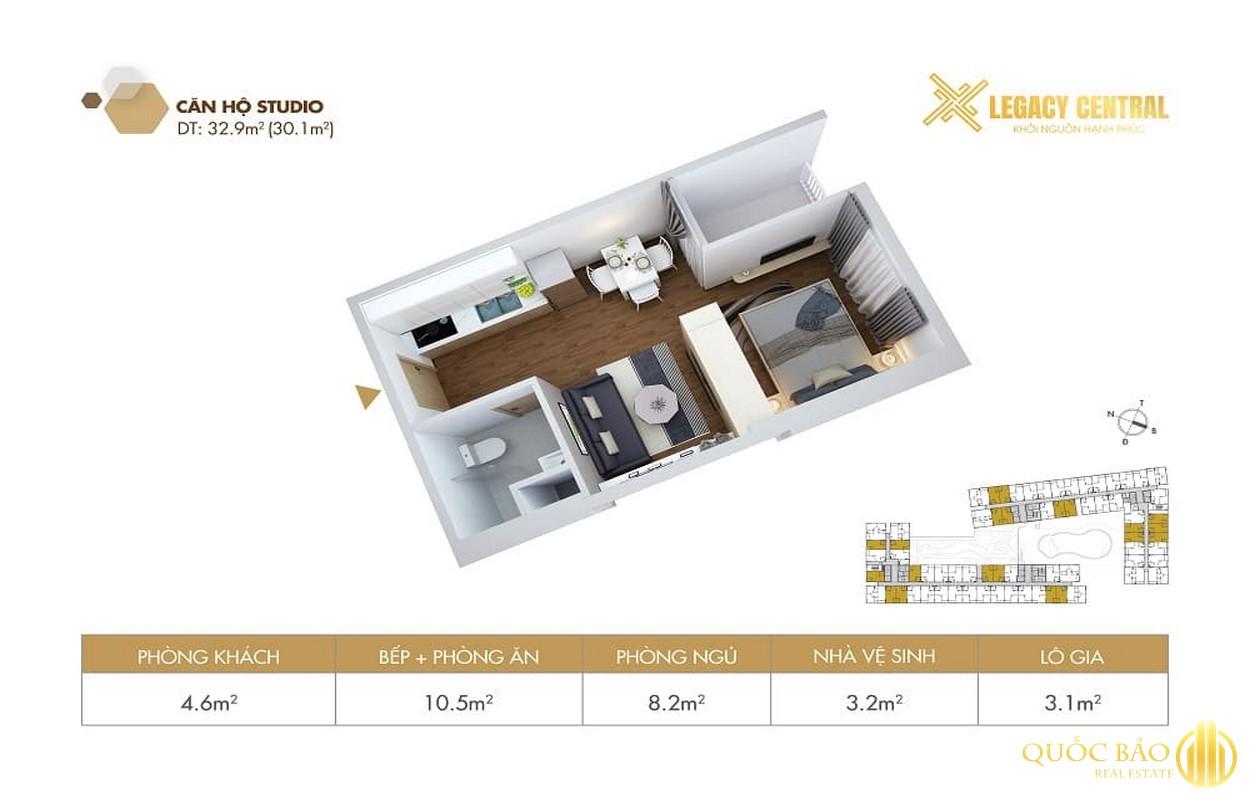 Thiết kế căn hộ Studio Phòng ngủ