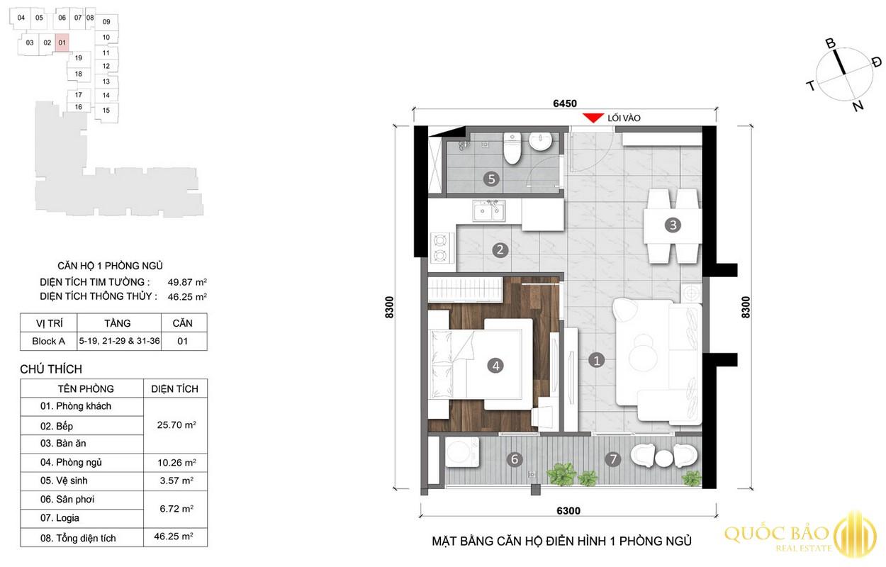 Thiết kế mặt bằng căn hộ 1 PN điển hình