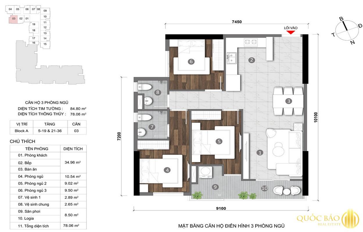 Thiết kế mặt bằng căn hộ 3 PN điển hình