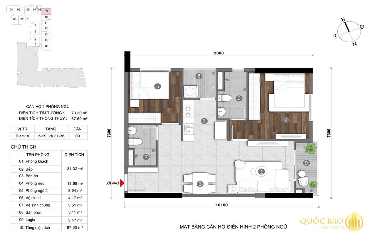 Thiết kế mặt bằng căn hộ 2 PN điển hình