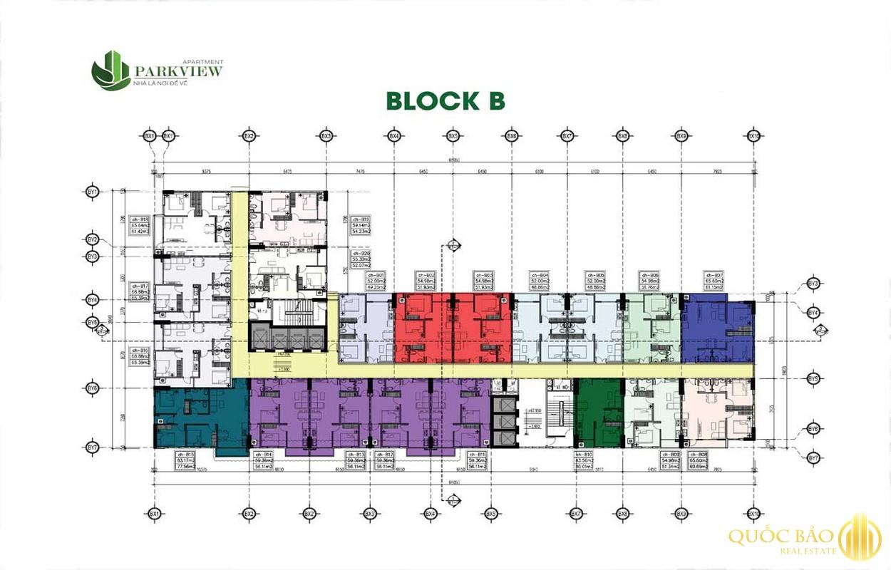 Mặt bằng Block B dự án