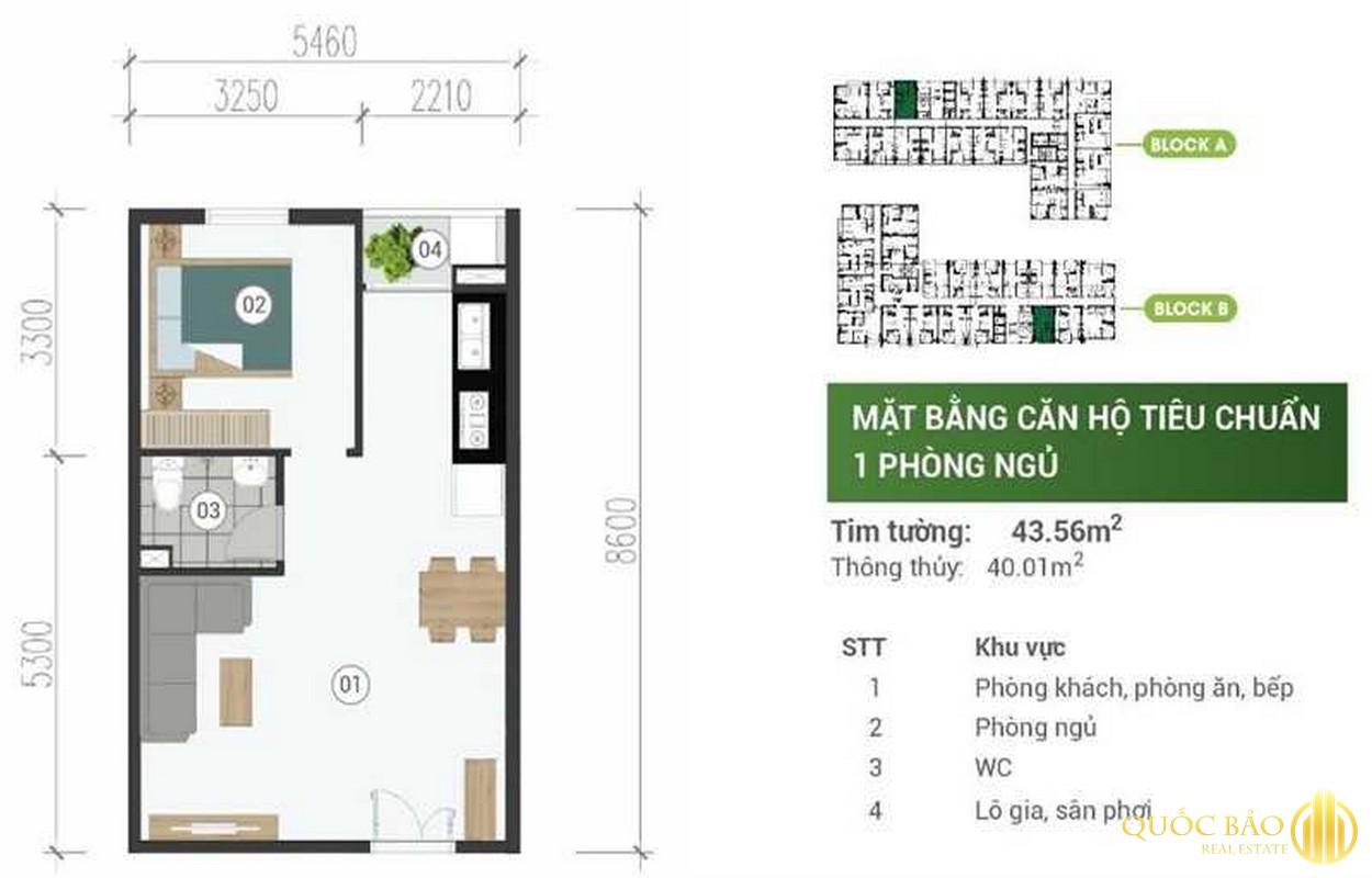 Mặt bằng thiết kế căn hộ 1 phòng ngủ