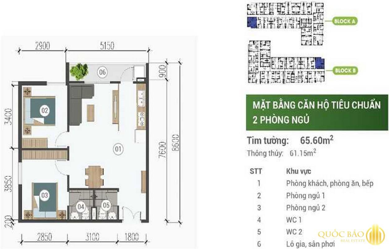 Mặt bằng thiết kế căn hộ 2 phòng ngủ