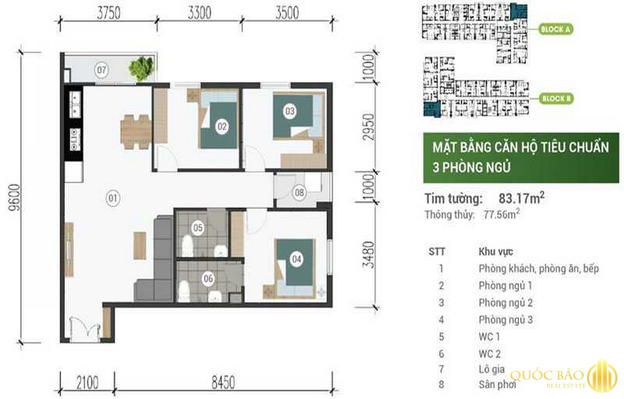 Mặt bằng thiết kế căn hộ 3 phòng ngủ