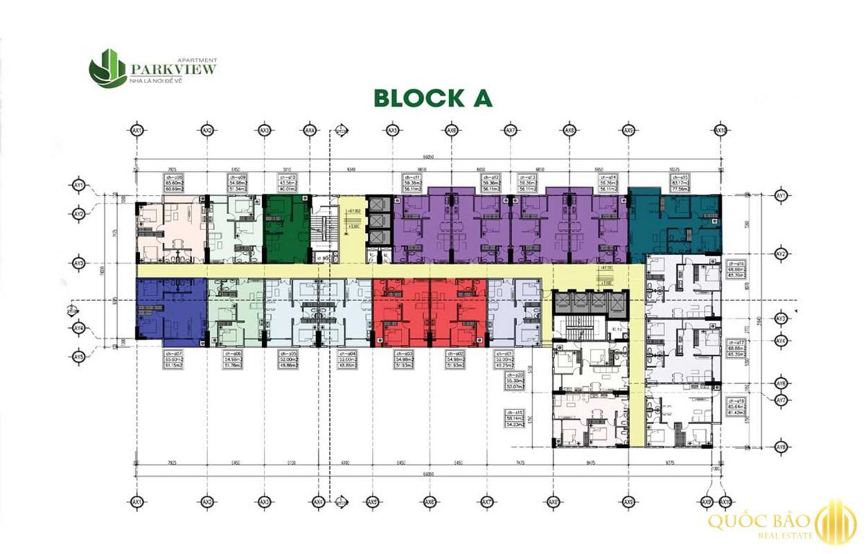 Mặt bằng Block A dự án