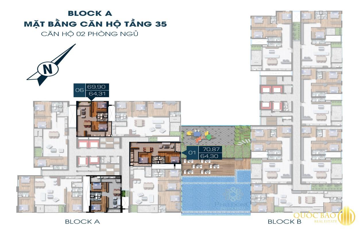 Thiết kế căn hộ 2 phòng ngủ tầng 35