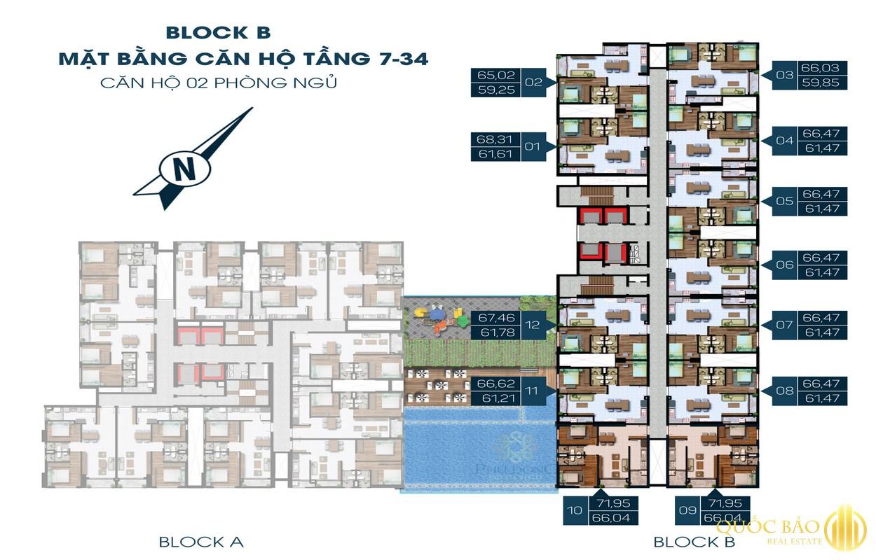 Thiết kế căn hộ 2 phòng ngủ tầng 7-34