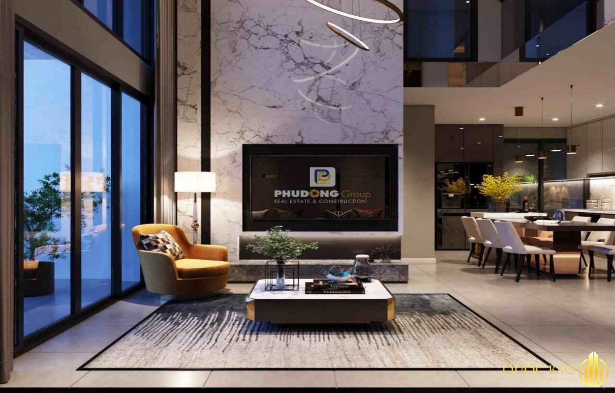 Thiết kế phòng khách nhà mẫu Phú Đông Sky Garden