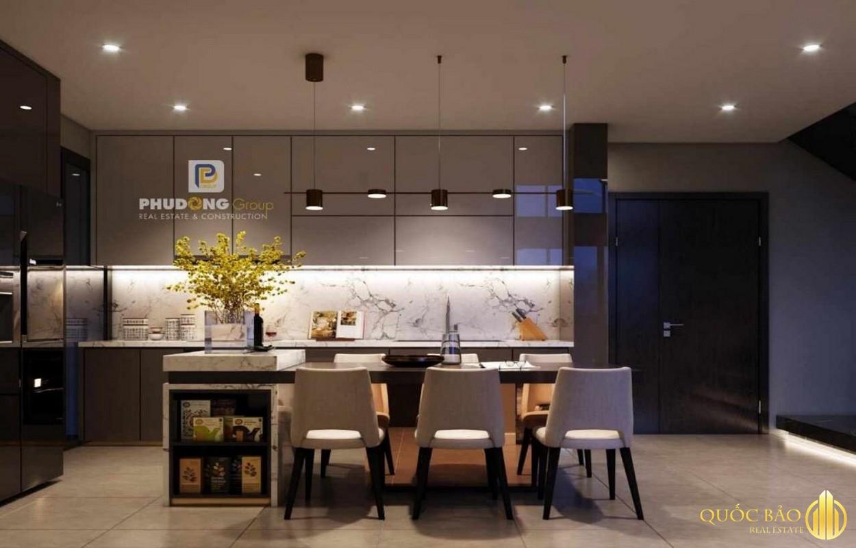 Thiết kế phòng bếp nhà mẫu Phú Đông Sky Garden