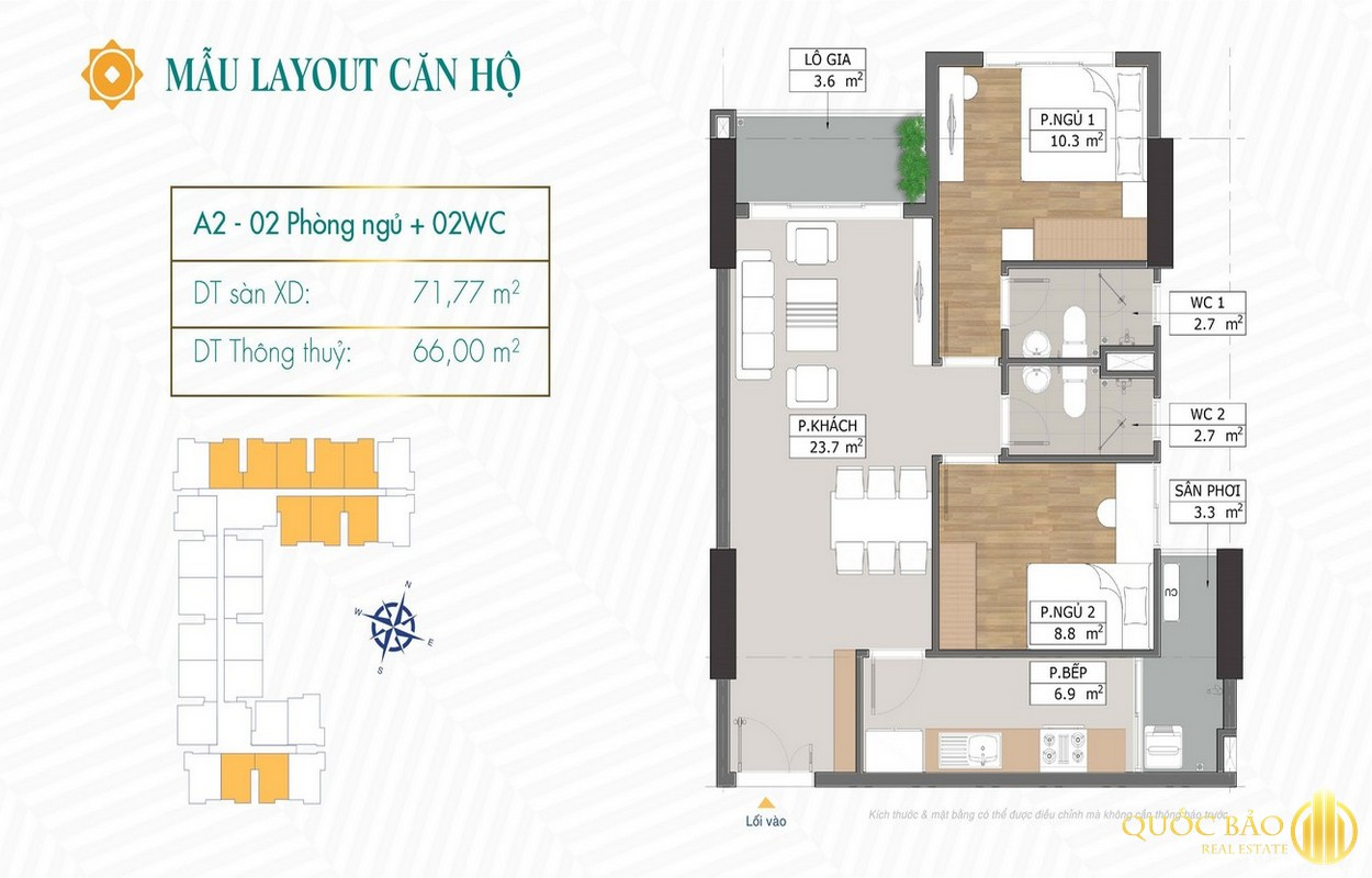 Thiết kế căn hộ 2 phòng ngủ dự án Phú Đông Sky Garden