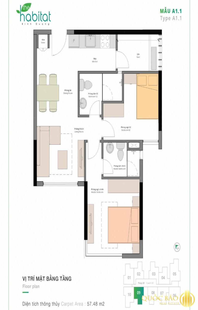 Thiết kế mặt bằng căn hộ 2 phòng ngủ điển hình